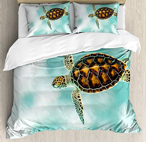 Ambesonne Turtle Duvet Cover Set King Size, Cute Baby Turtle Swimming in Abstract Waters Serene Nature Picture, Decorative 3 Piece Bedding Set with 2 Pillow Shams, Seafoam Brown Pale Coffee ()