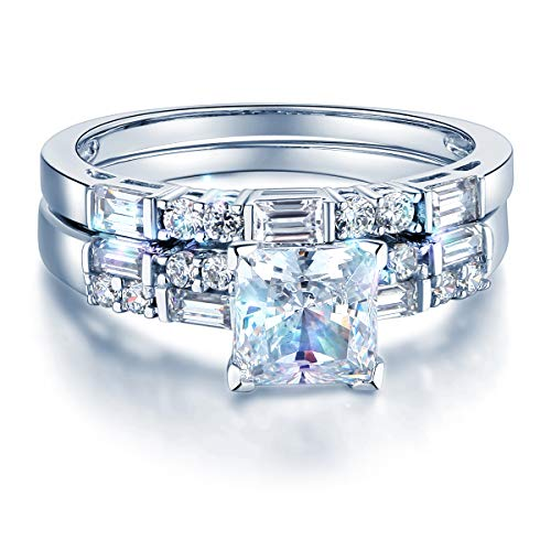 Wellingsale Ladies Solid 14k White Gold CZ Cubic Zirconia Princess Cut Engagement Ring and Wedding Band Bridal Set - Size 8