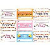 happy birthday heart gift and present labels coloured self stick