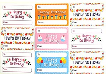Happy Birthday Gift And Present Tags Colourful Greeting Stickers Self Adhesive Labels 9 Designs Amazoncouk Office Products
