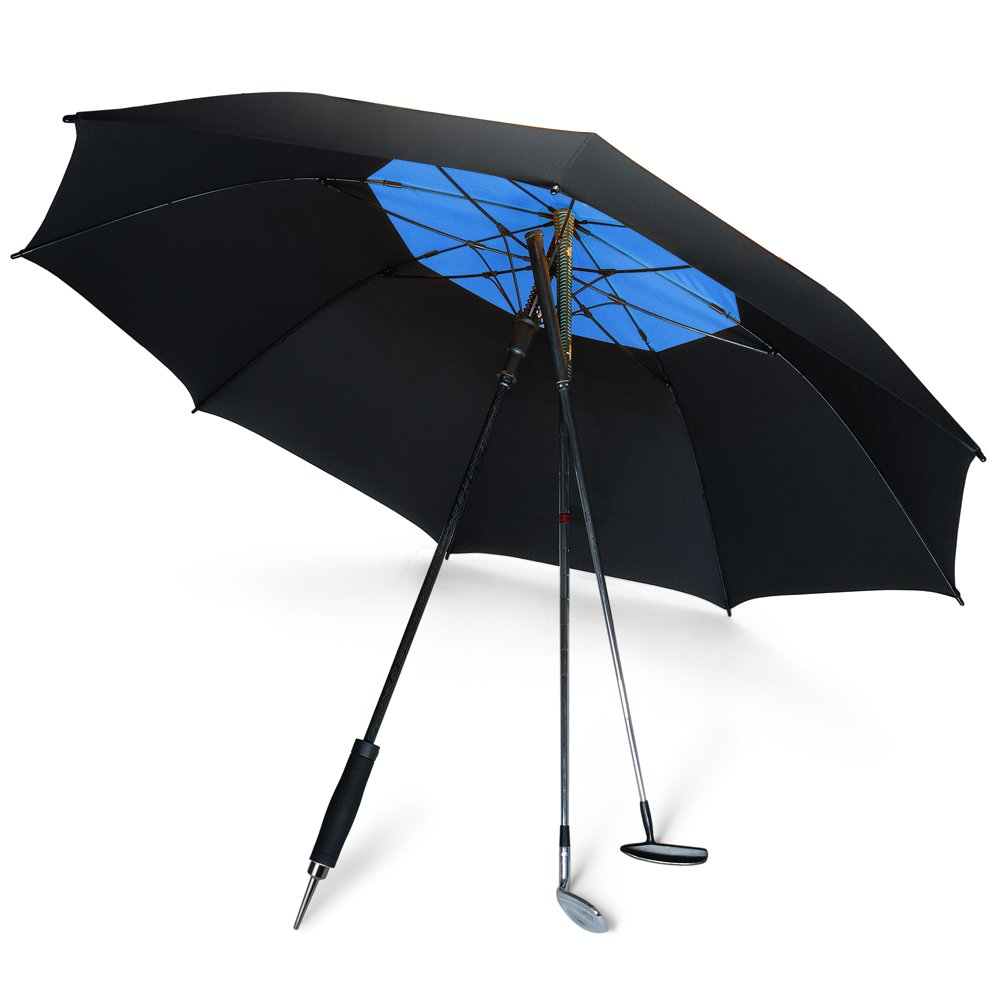 DAVEK GOLF UMBRELLA (Black/Royal Blue) - Extra Large Double Canopy Umbrella, 62 Inch Coverage with Automatic Open, Windproof Tested 60 MPH