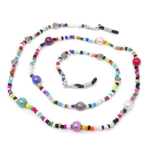 Holder Glass Beaded - Honbay 2PCS Colorful Beaded Eyeglass Chain Sunglass Holder Glasses Strap Lanyards for Women and Girls (Rose)