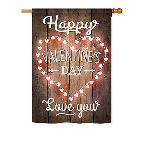 Happy Valentine's Day Vertical House Large Outdoor Decoration Flag 28