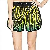 LUWI Women's Colorful Zebra Stripe Beach Board Shorts Quick Dry Swim Trunks