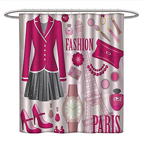 Anshesix Girly Decorfabric Shower curtainFashion Theme in Paris with Outfits Dress Watch Purse Perfume Parisienne Landmark DecorPleated Shower curtainPink Biege -