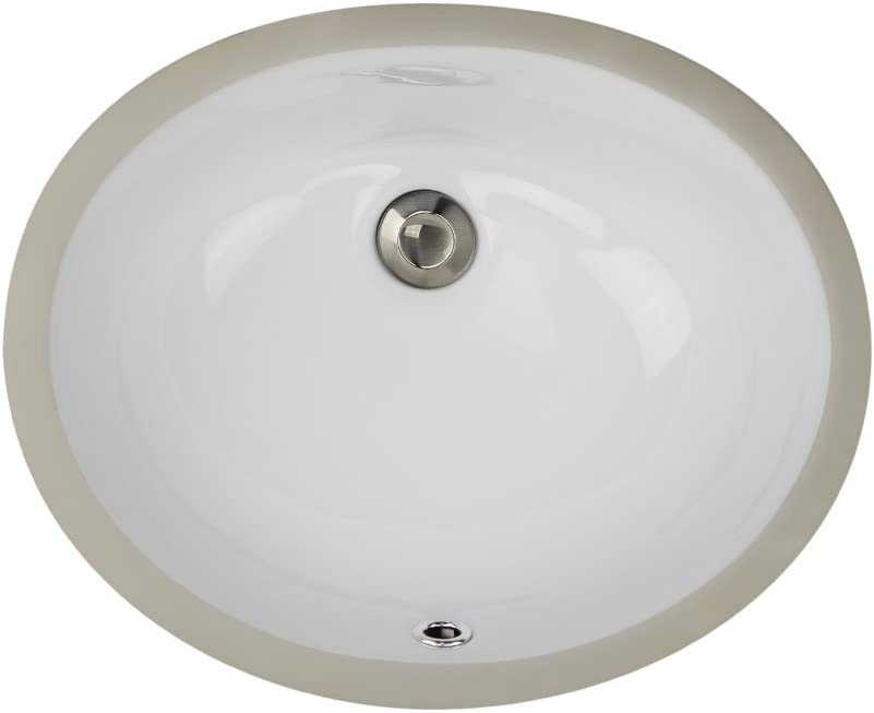 Highpoint Collection 15×12 Inch White Oval Undermount Vanity Sink