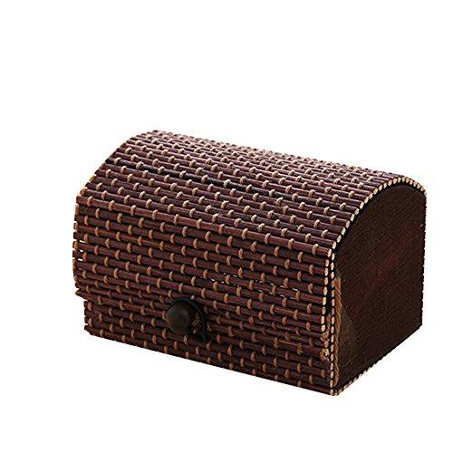 - TRENTON Creative Jewelry Box Bamboo Wooden High Capacity Case Necklace Earring Storage Organizer