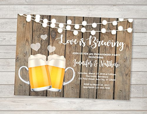 Love Is Brewing Invitation, Beer Co-ed Wedding Shower Invitation, Beer Couples Shower Invitation, Beers Engagement Party -
