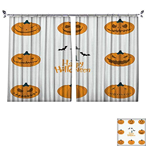 DragonBuildingMaterials Thermal Insulated Blackout Curtains for Bedroom W55 x L45(140cm x 115cm) Halloween Pumpkin Carving Set Happy Halloween Typography -