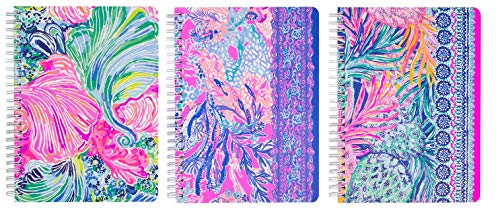 """Lilly Pulitzer Set of 3 Mini Spiral Notebook Set, 8.25"""" x 6.5"""" with 160 pages (Aquadesiac, Gypset, Beach Please)"""