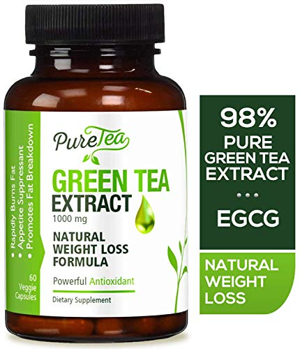Green Tea Extract Max Potency 98% with EGCG 1000mg for Healthy Weight Loss - Boost Metabolism for Heart - Antioxidants for Immune System - Gentle Caffeine - Fat Burner Supplement Pills - 60 Capsules