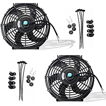 MOSTPLUS Black Universal Electric Radiator Slim Fan Push/Pull 12V + Mounting Kit (10 Inch) Set of 2