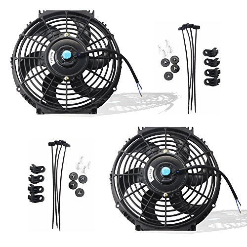 (MOSTPLUS Black Universal Electric Radiator Slim Fan Push/Pull 12V + Mounting Kit (10 Inch) Set of 2)