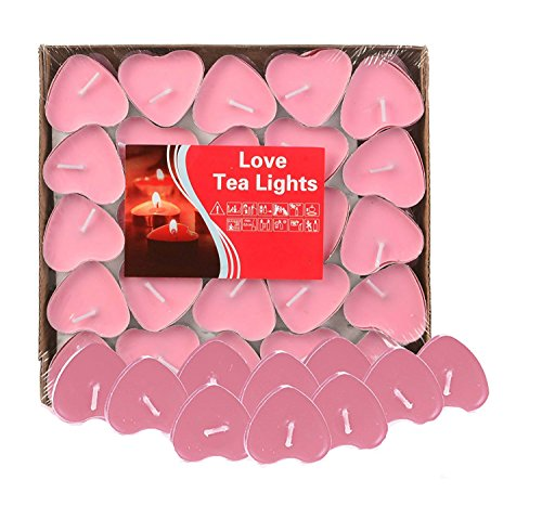 Yalulu 50Pcs Heart Shaped Smokeless Candles, Romantic Love Candle Floating Tealights Candle for Wedding, Birthday, Party, Festival (Pink) -