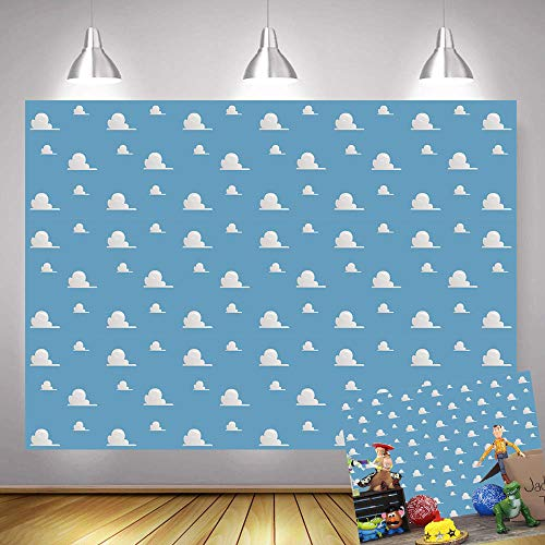 Art Studio 7x5ft It's a Boy Story Themed Birthday Party Photography Backdrops Blue Sky White Clouds Baby Shower Photo Background Kids Hero Photo Booth Studio Props Vinyl