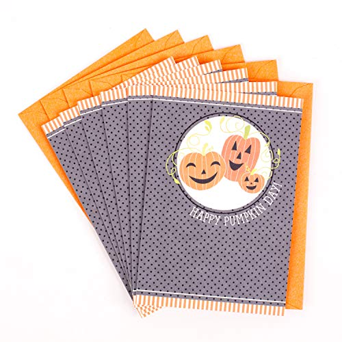 Hallmark Halloween Cards for Kids, Three Pumpkins (6 Cards with Envelopes)]()