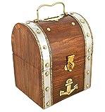 ShalinIndia Handmade Treasure Chest Wood & Brass Bank - 5.5 x 4.5 x 3.5 Inch - Great Gift Idea - Artisan Crafted in India