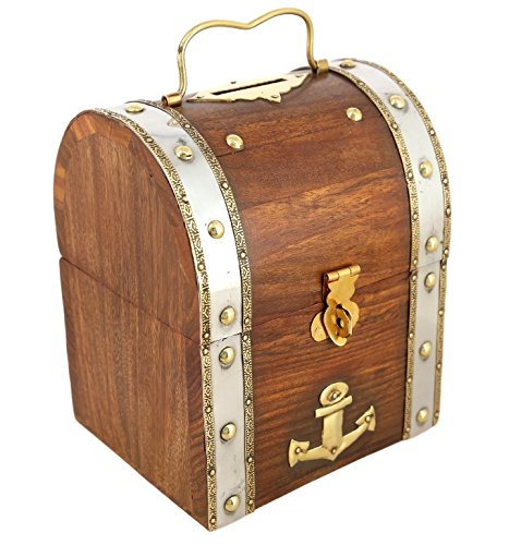 ShalinIndia Handmade Treasure Chest Wood  Brass Bank – 5.5 x 4.5 x 3.5 Inch – Great Gift Idea – Artisan Crafted in India