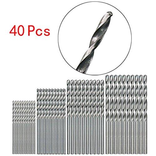 (40 Pcs Straight Shank Twist Drill Bit,Tuscom Drill Bit Set, Mini Drill HSS Bit 0.5mm-2.0mm Straight Shank PCB Twist Drill Bits Set for PCB, Thin Aluminum/Iron Sheet, Thin Plank, Plastic)