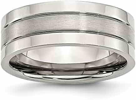 Jay Seiler Titanium 6mm Grooved Satin and Polished Band Size 9.5 Titanium