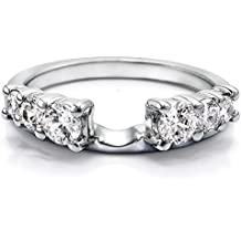 Sterling Silver Double Shared Prong Graduated Six Stone Ring Wrap with Cubic Zirconia (1 ct. tw.)