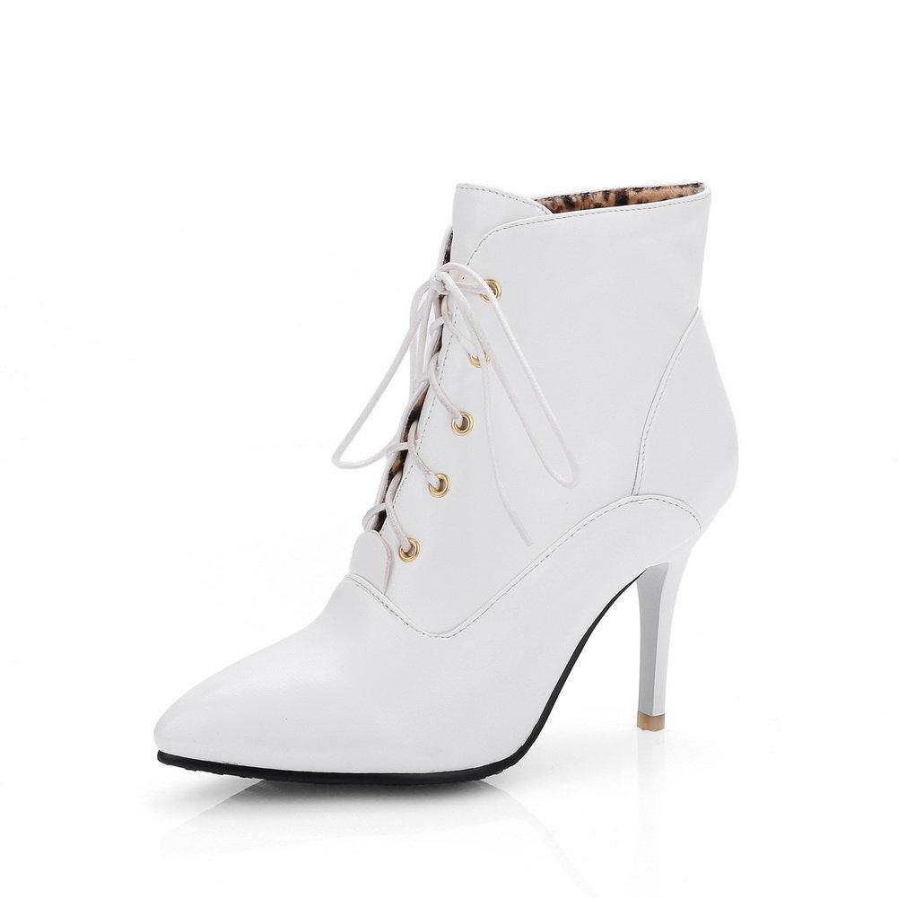 BalaMasa Womens Bandage Wheeled Heel Shoes European Style Imitated Leather Boots B01LZI39AT 6.5 B(M) US|White