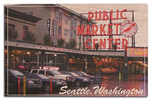 Lantern Press Seattle, Washington - Pike Place Market Daytime (10x15 Wood Wall Sign, Wall Decor Ready to Hang) ()