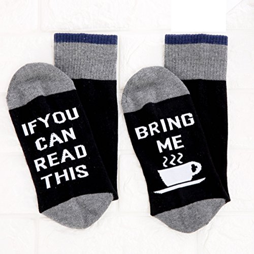 Christmas IF You Can Read This Bring Me Some Coffee Funny Socks - Perfect Secret Santa Present,Novelty Christmas Gift Idea for Men, Women, Coffee Lover