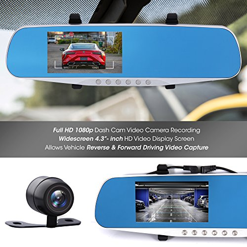 """Dash Cam Rearview Mirror Monitor - 4.3"""" DVR Rear View Dual Camera Video Recording System in Full HD 1080p w/Built in G-Sensor Motion Detect Parking Control Loop Record Support - Pyle PLCMDVR46 by Pyle (Image #3)"""