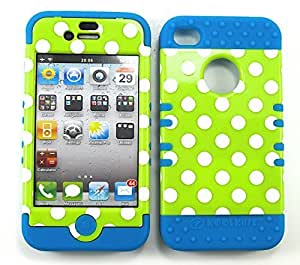 Cell-Attire Shockproof Hybrid Case For Apple IPhone 4, 4S, 4G and Stylus Pen, Light Blue Soft Rubber Skin with Hard Cover (Polka Dots, Green, White) AT&T, T-Mobile, Sprint, Verizon, Cricket, Virgin Mobile, Boost Mobile by runtopwell