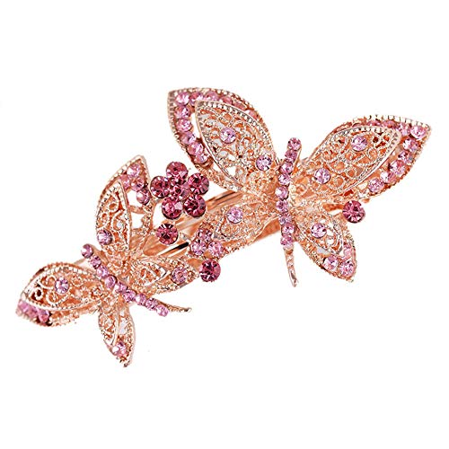 Hairpin,Butterfly Flowers Plated Alloy Hair-pin Diamond Dangle Kanzashi Hair Pin,Pink