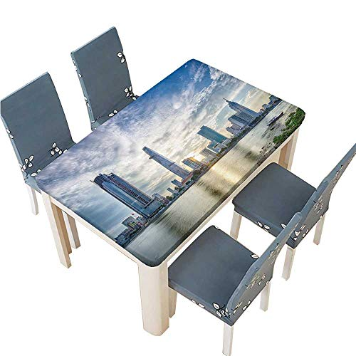 PINAFORE Polyester Table Cloth ho chi Minh City Viet NAM jul Sunset Over Downtown Saigon Table W65 x L104 INCH (Elastic Edge)