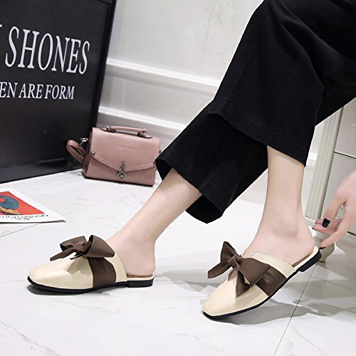 Bow women Wear With Women'S Fashion Black Flat Bottomed And Low Baotou Slippers Proof slippers Skid Summer Low WHLShoes Riding ESw5qRa