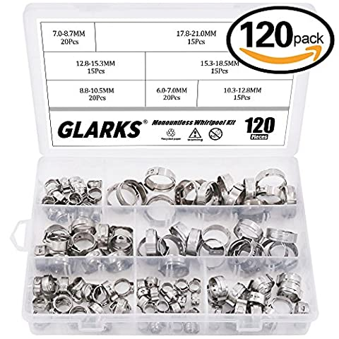 Glarks 120Pcs 7-21mm 304 Stainless Steel Single Ear stepless Hose Clamps Assortment Kit (Air Hose Clamp Tool)