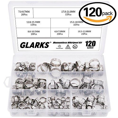 Glarks 120Pcs 7-21mm 304 Stainless Steel Single Ear stepless Hose Clamps Assortment Kit