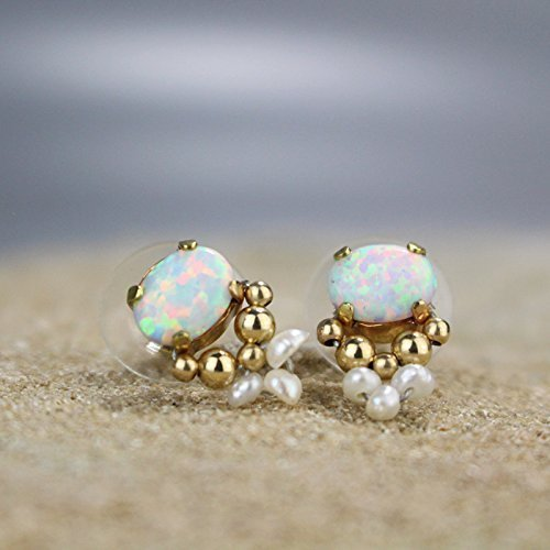 - High End Handmade Opal and Pearl Bridal Stud Earrings with Gold Filled Beads, Gemstone Wedding Post Earrings