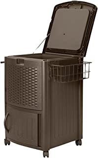 product image for Suncast Resin 77 Quart Wicker-Look Outdoor Patio Cooler with Wheels, Java