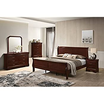 Roundhill Furniture Isola Louis Philippe Style Sleigh Bedroom Set Queen Bed