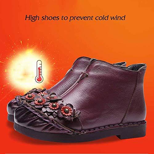 Boots Di Ladies Inverno Autunno Womens Grunge Basso Mano Età Martin Stivali Fiori E Purple Caldo Etnico Tacco A Mezza Modelli Fatti Stile UqXdfEfw