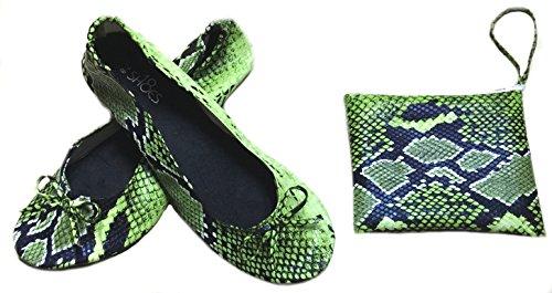 Shoes8teen Skor 18 Kvinnor Vikbara Bärbara Resa Balett Platta Skor W / Matchande Bärväska Orm Kalk