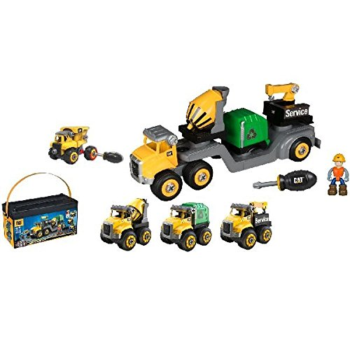 (CAT Machine Maker Junior Operator Combo Hauler 4 in1 Easy Take-A-Part Play Build Combo Hauler, Service Truck, Cement Mixer or Recycle Truck)