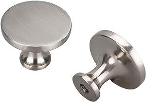 (10 Pack) homdiy Cabinet Knobs Solid Drawer Knobs - HD9189SNB Cabinet Hardware Brushed Nickel Dresser Knobs for Kitchen Bathroom Cabinets