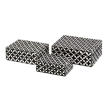 CC Home Furnishings 3 White Bone Inlay & Black Geometric Cross Pattern Decorative Storage Boxes 8.5""