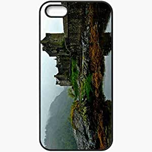 Protective Case Back Cover For iPhone 5 5S Case Eileen Don Castle Stones Fog Scotland Black