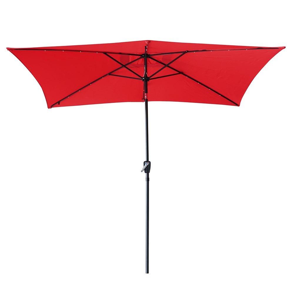 Yescom 10' x 6.5' Rectangle Aluminum Solar Powered Patio Umbrella w/ 20 LEDs Crank Tilt Poolside Garden (Pack of 2) by Yescom (Image #2)