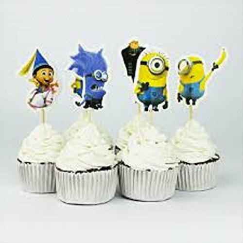 SXK.Co. Minions Cupcake Toppers 2 Dozen (24) Toppers (Minions Cupcake Toppers)