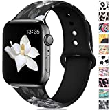 Haveda Floral Bands Compatible with Apple Watch 40mm Series 4 38mm Series 3/2/1, Soft Pattern Printed Silicone Sport Replacement Wristbands for Women Men Kids with iWatch, M/L, Gray Flower