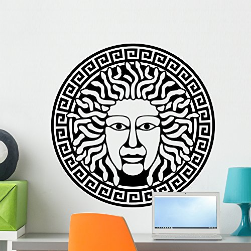 Wallmonkeys Illustration of Medusa Gorgon Head with Snake Hair Wall Decal Peel and Stick Graphic WM198514 (24 in H x 24 in W)