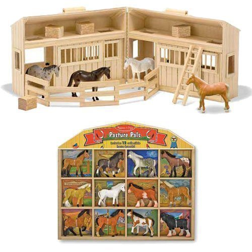 Melissa & Doug Fold and Go Mini Stable with 12 Horse Pasture Pals Bundle (Stable Horse Mini)