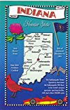 STATES2IND - INDIANA - Hoosier State, POSTCARD MAP ; State Nickname - HOOSIER STATE ; .- Statehood: 1816; Capital: Indianapolis; State Flower: Peony A U.S. State POSTCARD .... from HibiscusExpress